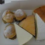 欧風菓子 カマンベール - チーズケーキ4コ、シュークリーム