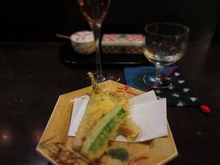 旬彩酒房 一の木 - 目光と夏野菜の天ぷら(晩酌セット)