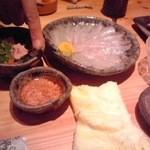 Yuuzansakanaryouri - かわはぎの刺身と肝醤油