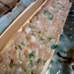 東心斎橋 ほおずき - 鶏つくねですよ。 鶏つくね、鶏もも、キャベツ、ニラ、モヤシで出来ています。