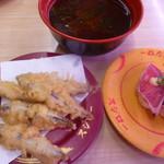スシロー - 炭焼きかつおたたき、魚のアラの赤だし、きびなご天ぷら