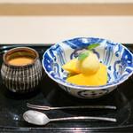 祇園 にしかわ - マンゴー、 マンゴーアイス、 マンゴーソース。  焙じ茶のプリン
