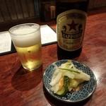 チカノミ - 瓶ビール(サッポロ赤星)¥600、お通し¥300