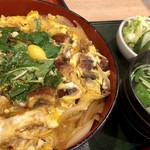 うなぎ 和友 - ウナ玉丼全景   お新香もたっぷり!肝吸いはすっきりして美味しい!