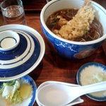 そば処寿庵 - 料理写真:エビ天かしわ 730円 + 小ライス 140円