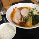 鬼がらし - 味噌中辛太麺870円+ライス無料+ニンニク