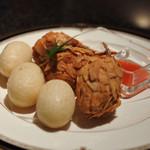Kitashinchikyouka - 6500円コースの蟹爪のアーモンド揚げと五目揚げ餅