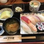 ひら田 - 寿司定食=860円 鉄火細巻き=320円