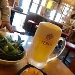 大衆とり酒場 天てん - ちょい飲みセット¥1000(税込)のビールと枝豆と小鉢の冷奴