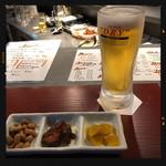 大衆酒場 まゆ - 料理写真:生ビール&お通し