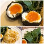 FLOW - *ゆで卵は半熟で外の黒いパウダーも丁寧に説明されたのですが、よく聞き取れなくて。m(__)m 添えられたソースと共に頂くと美味しい。 *ピラフは刻んだ人参が入り、軽くバターを感じる味わいも好み。