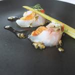 111230653 - 金目鯛のマリネ 茄子のピュレ ミニウイキョウとケッパー