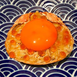 プレミアム食材「うにくらプレミアム蟹味噌リゾット甲羅焼き」