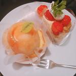アン・シャルロット - まるごと桃・いちごのカスタードパイ