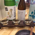 和酒場 Izuru - 飲み比べ3種(姿特別純米生酒が、香り、甘さ、よい