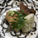鮨旬美西川 - あん肝、おからの稲荷、コーン