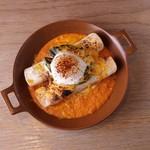 《C》半熟卵とアボカドをのせた エンチラーダパプリカソース【スープ+サラダ+ドリンク付】