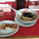 ラーメン山岡家 - 醤油ラーメン¥650とサービス券5枚で餃子