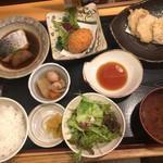 一里 - 選べる三品セット 1,350円 小鉢、サラダ、ご飯、お味噌汁、お漬物付き
