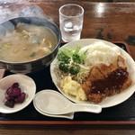 綿家 - 料理写真:カレーうどんのカツライス定食