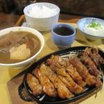 食小屋 タナカ - ロースとんてきセット(しょうゆ) 950円(税込)。      2019.07.02