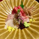 魚鶏料理 仲乃路 - お造り5種盛り