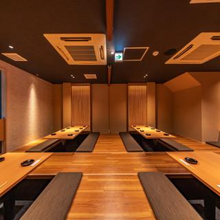 最大40名様までご利用可能なテーブル個室。会社などの飲み会に最適です。