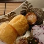 懐石 宿 扇屋 - 八寸 出汁巻き卵、姫栄螺の旨煮