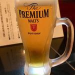 ステーキ居酒屋 はがくれ - サントリー ザ プレミアム モルツ 生ビール