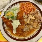 キッチンABC - ポーク生姜焼+チキン南蛮 880円