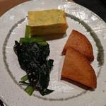 ステーキ&しゃぶしゃぶ ふじた - [料理] ほうれん草・厚焼き卵・薩摩揚げ 全景♪W