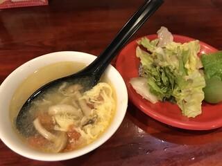 中華料理 八戒 - スープとサラダも付くよ〜
