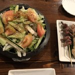 111554155 - 野菜サラダ、砂肝、ネギマ