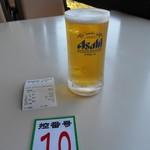 弥彦山ロープウェイ展望食堂 - 暑かったので小ビールを注文