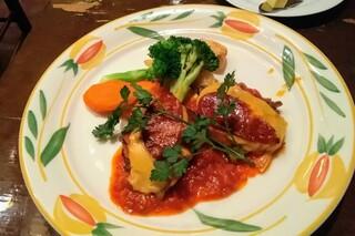 カサ・デ・フジモリ - ランチの「牛薄切肉とチョリソーのオーブン焼 マジョルカ風」