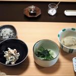 あさば - 朝食:茄子の胡麻煮 白和え 青菜のお浸し など