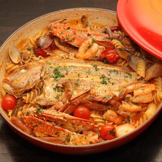 【フランス産特製鍋】魚介とショートパスタを煮込みました♪♪
