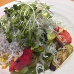 今日和 - 料理写真:夏季限定!とれたて千葉野菜と銚子のシラスの冷製スパゲッティ