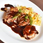 フォルクス - 料理写真:チキンとエンドウのグリル バルサミコソース(980円+税)2019年6月