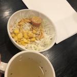 肉のはせ川 - サラダとおかわり自由のスープ サラダセット (ライス、サラダ、スープ)260円税抜