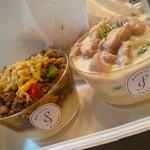 Potato Cream - 挽肉とバジルの甘辛炒めポテトクリーム、かぶと鶏肉のゴルゴンゾーラポテトクリーム