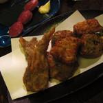 もじよ - 清水カマボコ三点盛り&雲仙ハムの串焼き