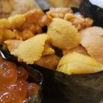 Sushihiro - ⑪蝦夷馬糞雲丹軍艦             産卵期は夏~秋、旬は初夏~夏。             濃厚な甘みとコクが特徴             サイズは小さいが味わいは良い!             こういうレベルの雲丹が出るのは嬉しい。