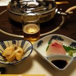 わび助 - 小鉢 ・刺身・生ハムサラダ・シメの雑炊や麺・デザートが付いています。