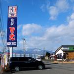 旅の駅 日光ろばたづけ お食事処 - 道路沿いの看板(日光連山が見渡せます)