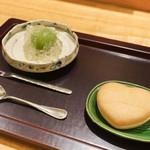 日本料理 太月 - 青梅白ワインじゅれ、キャラメル最中