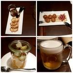 京都洋食 ムッシュいとう - 黒七味ブルスケッタ、生ハムの入ったクジュール ピクルス、生ビール(小さく見えますが量は普通に入ってます)