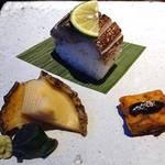 はれや別邸 - 蒸し鮑、鯖棒寿司、ふくさ焼き