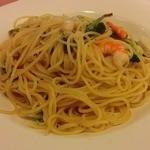 不二家レストラン - 海老とブロッコリーのペペロンチーノ