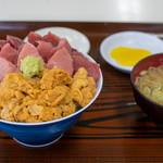 鶴亀屋食堂 - 2019.7 生うにとキハダマグロのダブル丼(3,500円)
